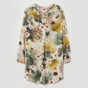 H&M V-neck Tropical Print Tunic